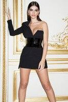 High Quality Black Long Sleeve One Shoulder Elegant Dress Club Party Dress