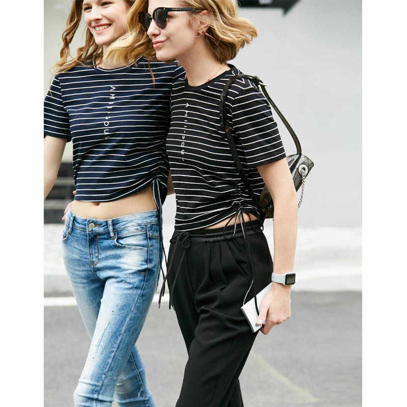 Amii Mulheres Minimalistas Calças Primavera Verão 2019 Causal Sports Sólido Elástico Na Cintura Chiffon Calças Femininas