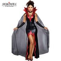 SEBOWEL из 2 предметов пикантные Хэллоуин Косплэй костюм красный шипами ошейник с черной сеткой накидка Queen вампира Для женщин Bodycon SLIT платье