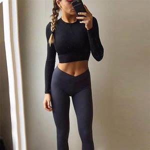 1ac22592ee5b8c KLV workout leggings Women Waist Fitness Leggings Pants