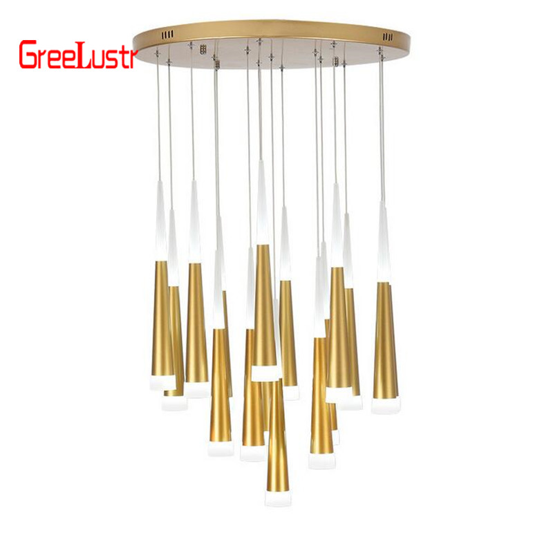 Modern Led staircae Chandelier Hanglamp Aluminum Conical long stair pendant lamp Suspension Luminaire Spiral Lustre for stairModern Led staircae Chandelier Hanglamp Aluminum Conical long stair pendant lamp Suspension Luminaire Spiral Lustre for stair