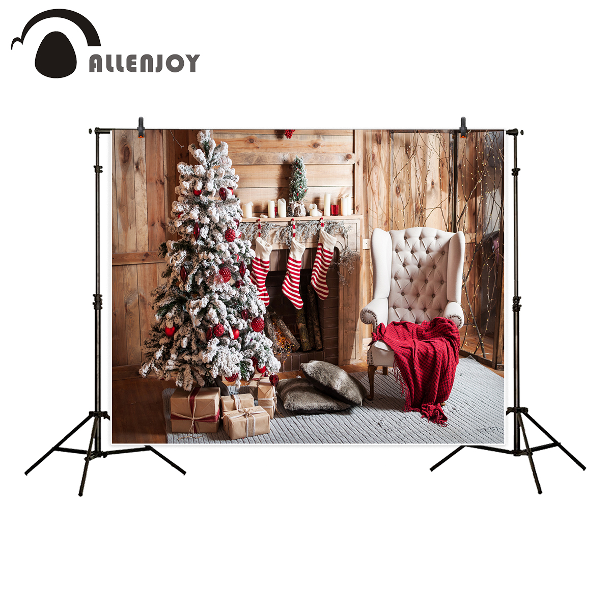Allenjoy photography background Christmas tree wood room fireplace sofa backdrop photocall photographic photo prop photobooth