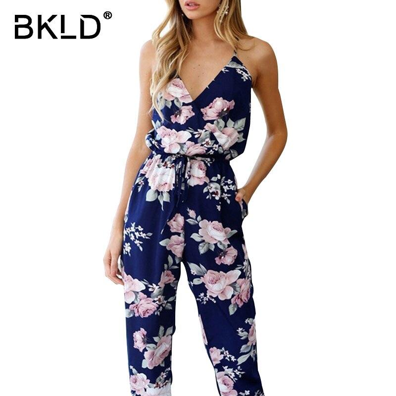 BKLD Sexy V-neck Women Party Rompers Elegant Floral Print Criss Cross Open Back Jumpsuits Summer Women Bohemian Beach Long Pants