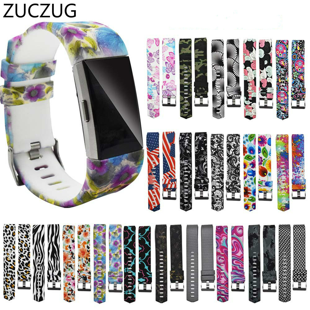 ZUCZUG original Painted printing Replacement Silicone Soft Silicone Watch Band Wrist Strap For Fitbit Charge 2 Band strap in Smart Accessories from Consumer Electronics