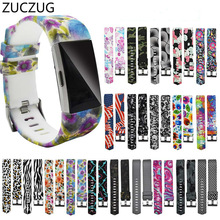 ZUCZUG original Painted printing Replacement Silicone Soft Watch Band Wrist Strap For Fitbit Charge 2 strap