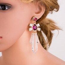 BK Elegant Water Drop Crystal Earrings Luxury Bridal Wedding Long Dangle For Brides Vintage Pearl Hollow