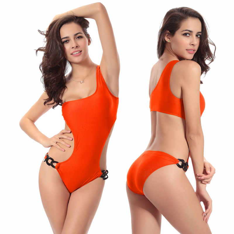 f6476e08df New Arrival Women's Sexy Solid Color One Piece Suits Single Shoulder Unique  Waist Design Swimsuit Bathing Suit Padded Swimwear-in Body Suits from  Sports ...