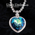 Alta calidad! plateado platino del corazón de océano diseño azul oscuro cristal austriaco Classic señora collar pendiente