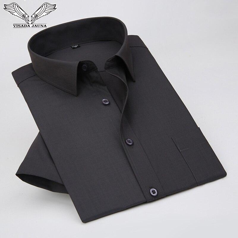 VISADA JAUNA 2019 Men's Casual Shirt Short-Sleeved Chest Pocket Slim Fit Cotton Business Formal Solid Color Big Size 5XL N5069