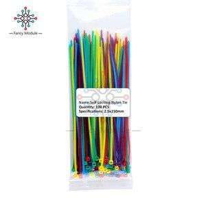 100PC kolorowe nylonowe znacznik kablowy 10 kolorów 2.5*100mm 2.5*150mm 2.5*200mm etykiety drutu pasy, samoblokujący plastikowy kabel nylonowy