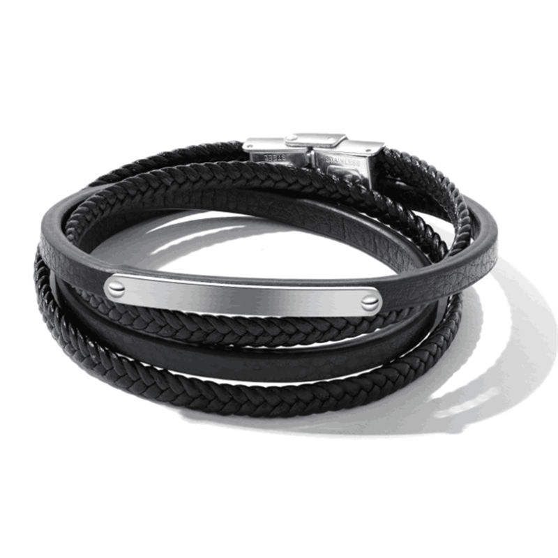 Bracelets Men Jewelry Black Leather Weaving Charm Rope Chain Wrist Strap Genuine Leather Stainless Steel Bracelet