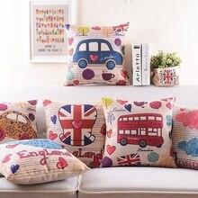 Inglaterra Londres Fundas de cojín británico Estilo Vintage de la Guardia Real autobús gran Ben árbol flor almohada cubierta de algodón de lino funda de almohada