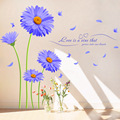 Aster Novi-belgii Purple Chrysanthemum DIY Wall Stickers Living Room TV/Sofa Backdrop Decor Mural Decal Wallpaper XL8088