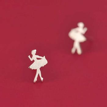 Small Dancing Girl Silver Stud Earrings3