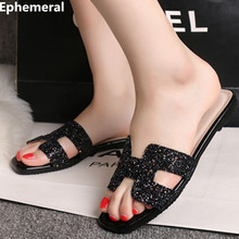 Woman rhinestone flat slippers 2017 bling shoes open toe summer spongy slides black and white flip flops for ladies max size 45