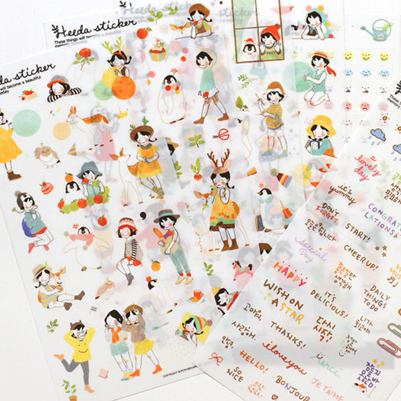 6 sheets/lot DIY Cute Kawaii PVC Stickers Lovely Sweet Girl Sticky Paper For Home Decoration Diary Free Shipping 568 cute kawaii cartoon animal stickers creative fruit vegetables sticky paper for scrapbooking diary free shipping 994