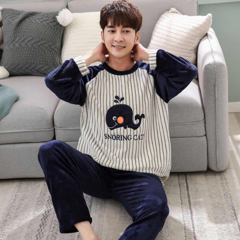 55b361d804129 Осень-зима Мужская пижама ночное теплая фланелевая одежда для сна комплекты  длинные брюки Пижамные комплекты