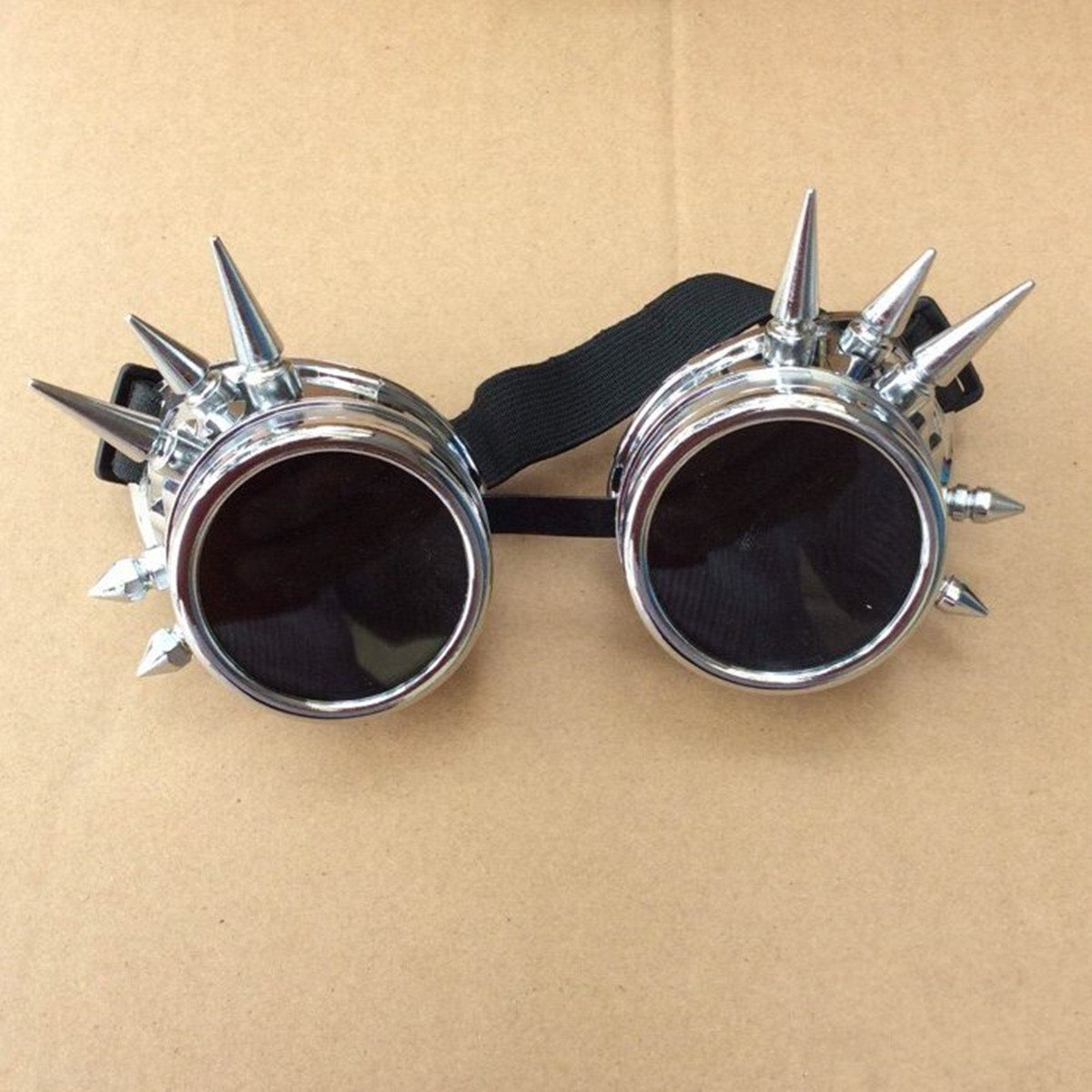 NEW Fashion Silver Steampunk Goggles Spikey Burning Man Costume Cosplay Gothic Punk  Safety GogglesNEW Fashion Silver Steampunk Goggles Spikey Burning Man Costume Cosplay Gothic Punk  Safety Goggles
