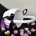 Romántica Boda de La Flor Cesta de La Muchacha Elegante Satén Bowknot Cestas De Flores para la Decoración Del Banquete de Boda