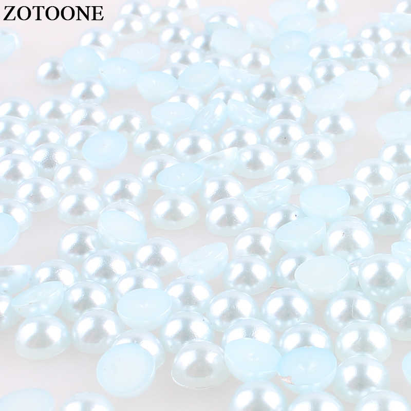ZOTOONE Gray Blue Flatback Non Hotfix Rhinestones Pearl Applique ABS Resin Rhinestone For Clothing Nail Art Decorations Strass E