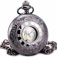 TD Unisex Steampunk Retro Vintage Antique Automatic Mechanical Pocket Watch Pendant Chain Clock BOX