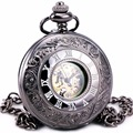 Men Unisex Steampunk Retro Vintage Antique Automatic Mechanical Pocket Watch Skeleton Roman Dial With Chain Clock + GIFT BOX