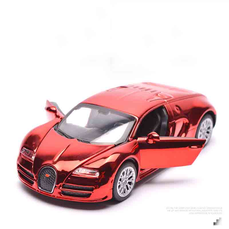 Alloy Bugatti painting model, simulation Alloy car, scale 1/32 , Pull Back car with light Music