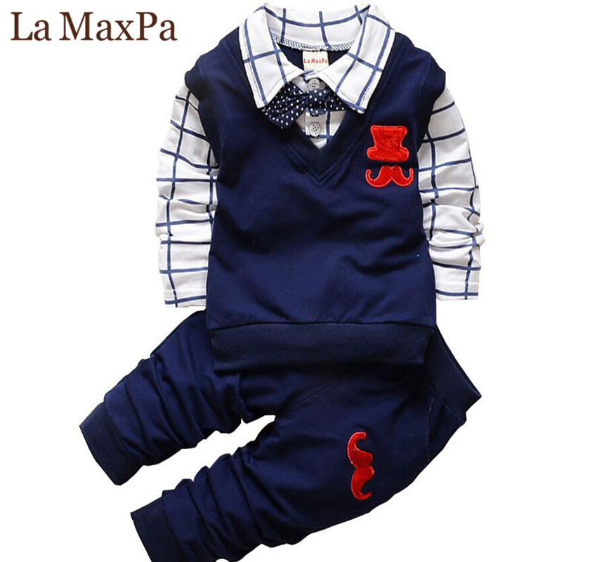 La MaxPa Spring Autumn Baby Boy Clothing Sets Kids Clothes Set Toddler Boys Cotton t-shirts+pants Sports Suit Tracksuit Set