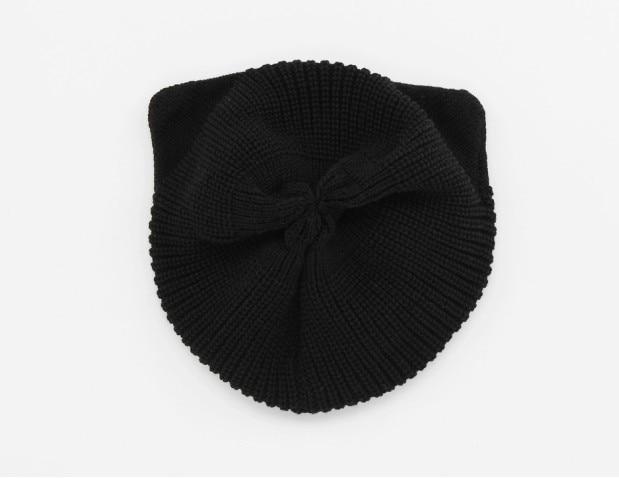 Doprava zdarma 1ks podzimní módní dámská pletená čepice krásné kočičí uši ženy zimní teplá čepice černá béžová velkoobchod