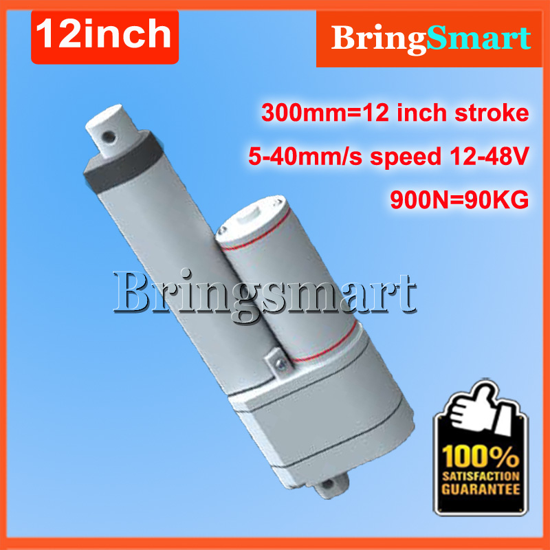 300mm Stroke Actuator Linear 12V-48V Motor Mini Linear Actuator With Potentiometer 5-40mm/s 1-90KG Load Electric Linear Actuator micro mini electric linear actuator 12v dc motor 450mm 18 stroke 100n 10kg load 40mm s 1pc