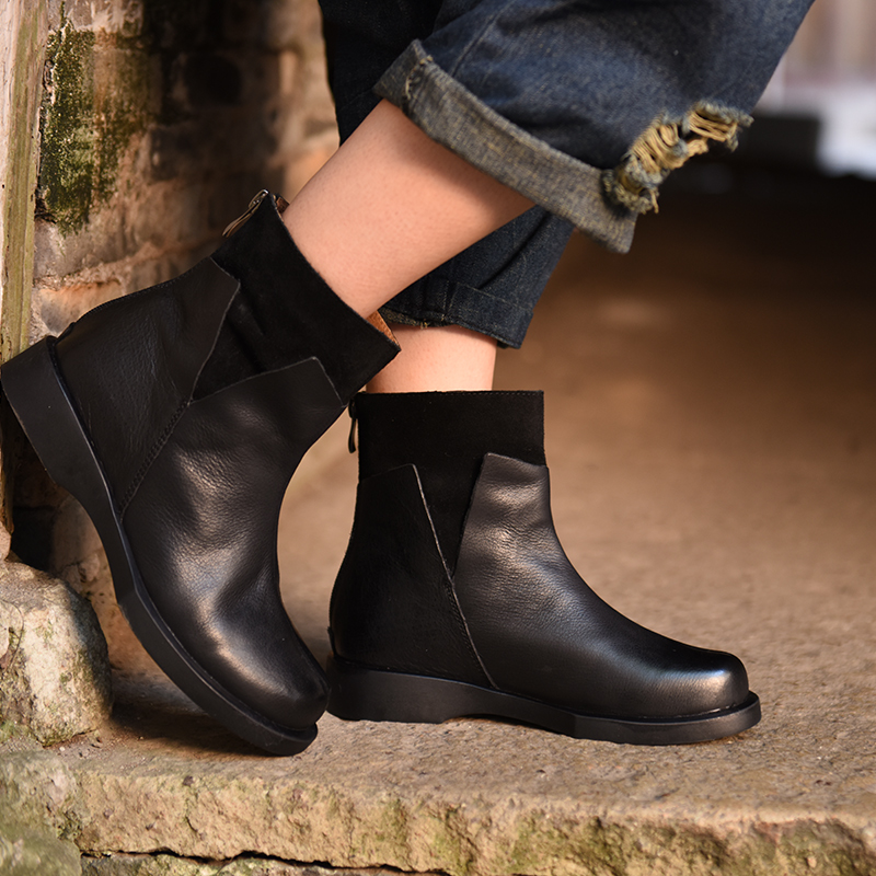 New Autumn and Winter Leisure Low Heels Round Toe Ankle Boots Leather Biker Boots Handsome Personality 5051-2