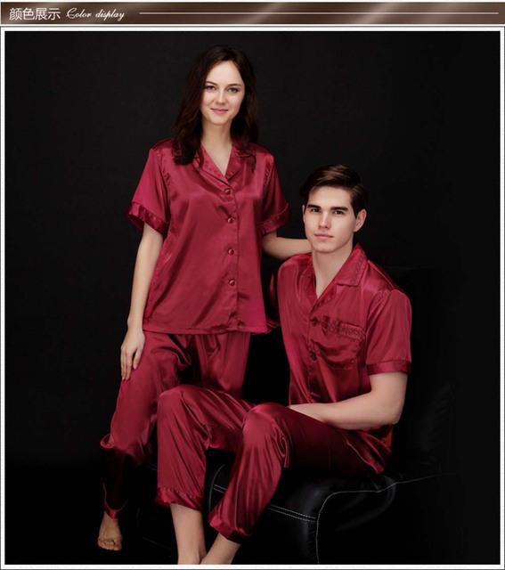 Mens De Satén de Seda Pajamas Set Pijama pijama de Dormir Set Homewear Loungewear M L XL Perfecto Regalos de Seda Ropa de Dormir Masculina