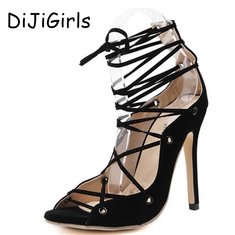 Summer Sandals Roman Gladiator High Heels Women Sexy Front Open toe Strappy Lace Up Pumps Ladies Stilettos Genova Shoes Woman mobeini new fashion colored pompon straps with high heels sandals casual roman women s sandals summer woman gladiator sandals