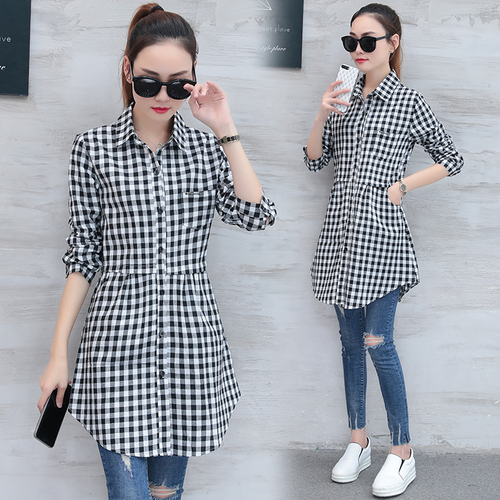 Women Shirts Korean Fashion Long Cotton Plaid Shirts Women Elegant Slim Long Sleeve Spring Autumn Office Ladies Plaid Shirts