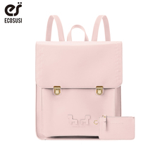 ECOSUSI Women PU Leather Men Backpack Casual School Bag Girls 13 Inch Laptop with Small Purse Pink Wallet Mochila