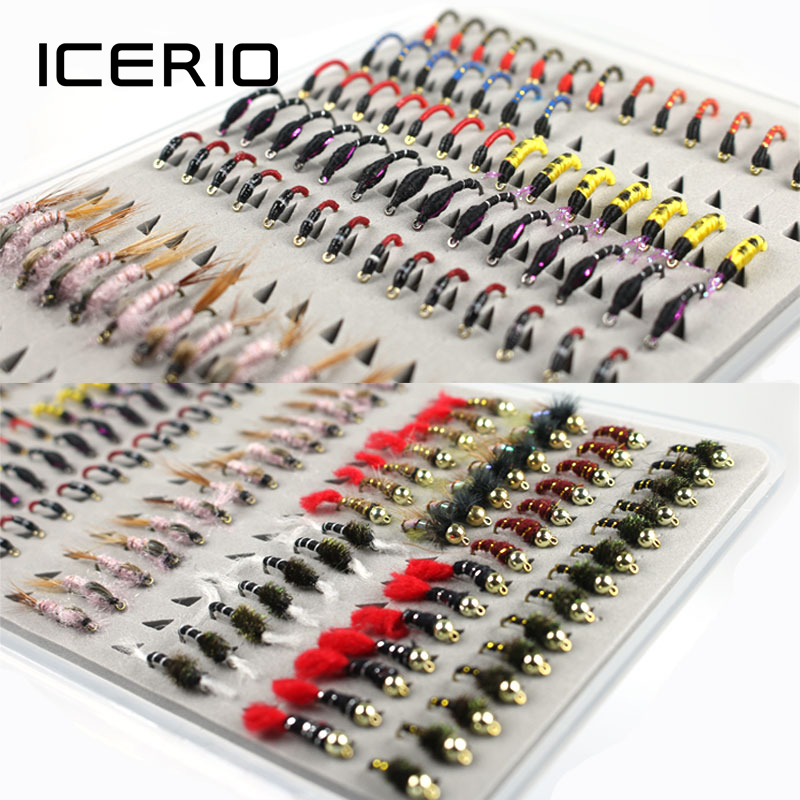 ICERIO 126PCS Set Portable Boxed Bead Head Nymph Scud Midge Fly Fishing Flies for Fly Trout