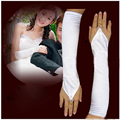 White Stretch Satin Bridal Wedding Prom Gown Custom Gloves Fingerless Elbow Length Free Shipping 2017 Hot Sales