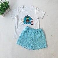 Puresun/Новое поступление, изысканная Детская летняя Милая Одежда для мальчиков Высококачественная рубашка с вышивкой в фермерском стиле шорт...