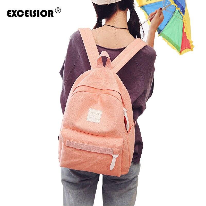 EXCELSIOR Backpack schoolbag women school backpack bags Canvas backpack teenage backpacks for girls feminine bagpack mochila