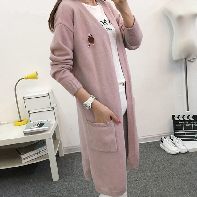 Long Sleeve Knitted Cardigan Women Sweater 2017 New Casual Autumn Winter Black/Green/Pink Pocket Tricot Long Cardigan Female 878