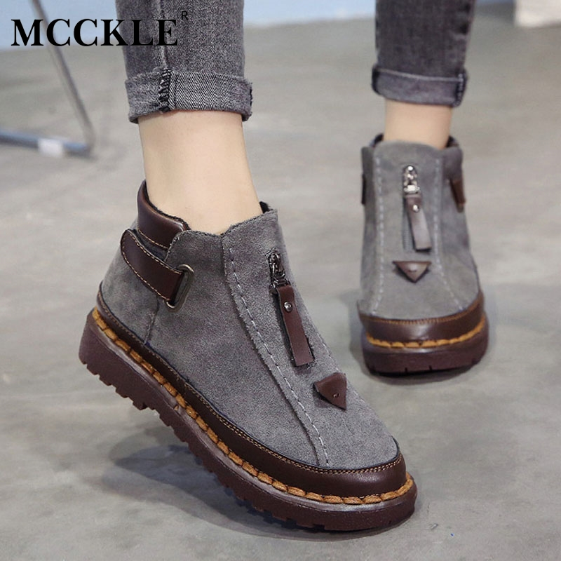 MCCKLE Women Warm Fur Women Snow Boots Flat Platform Winter Shoes Ankle Boots Female Fashion Non-Slip Basic Snow Casual Shoes ribetrini 2017 fashion cow suede turned over edge ankle snow boots sewing warm fur platform low flat women shoes size 34 39