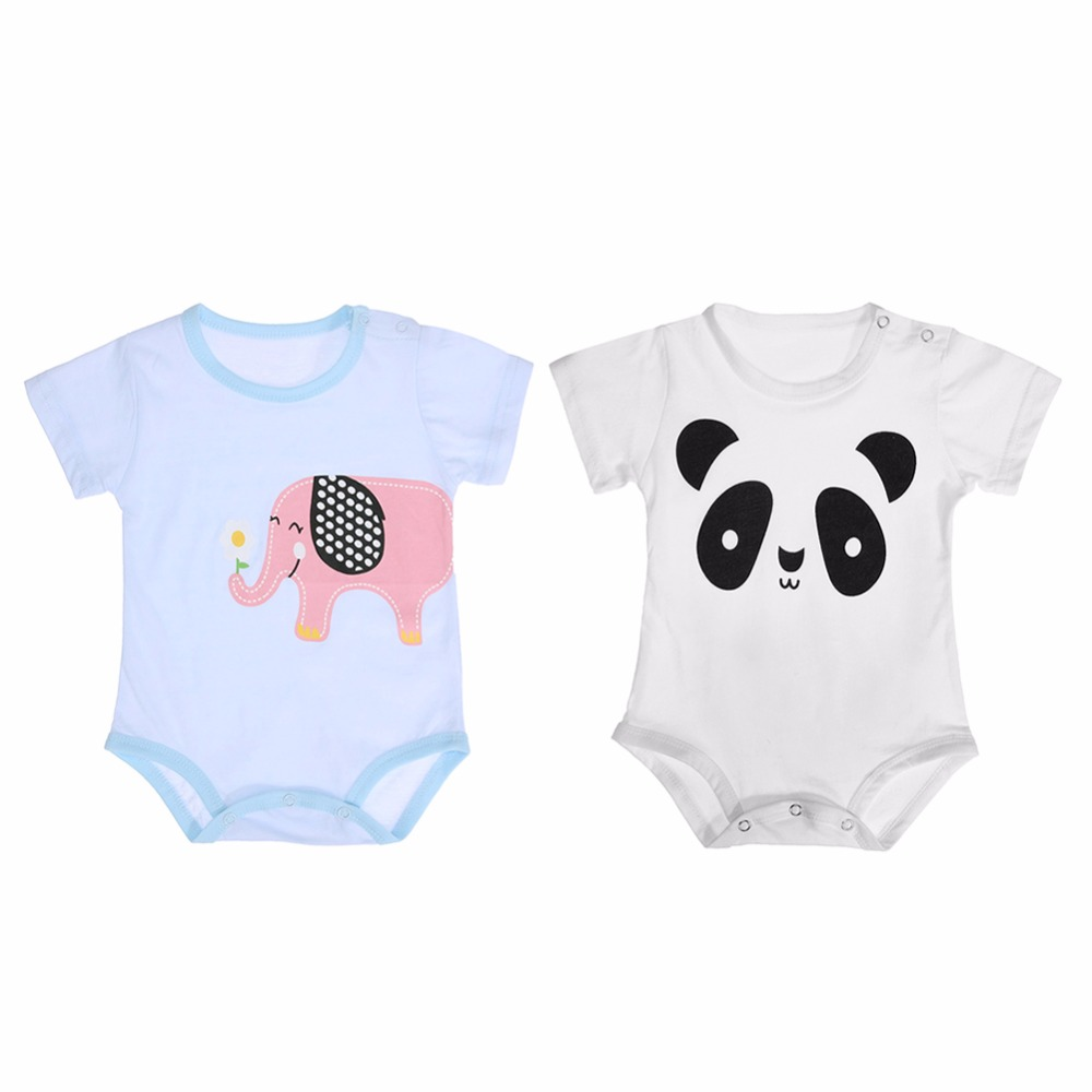 dbc56c8b200 Cute Spring Summer Unisex Baby Breathable Cotton Cartoon Short Sleeve O-Neck  Newborn Boys Girls