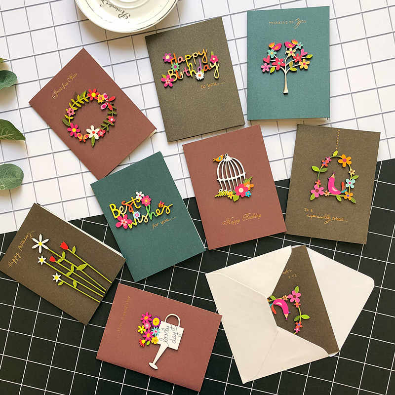 Creative Mini Greeting Cards Handmade Colorful Wood Ornament Kids Greeting Cards For Birthday Friend