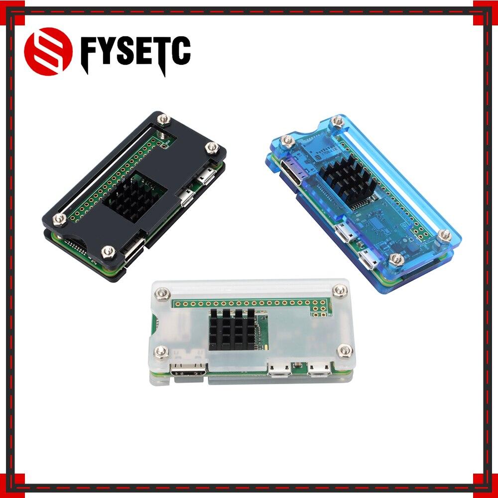 Raspberry Pi Zero W Case Acrylic Case + Black Heat Sink Black Blue Transparent Box compatible for Raspberry Pi Zero V 1.3 Board