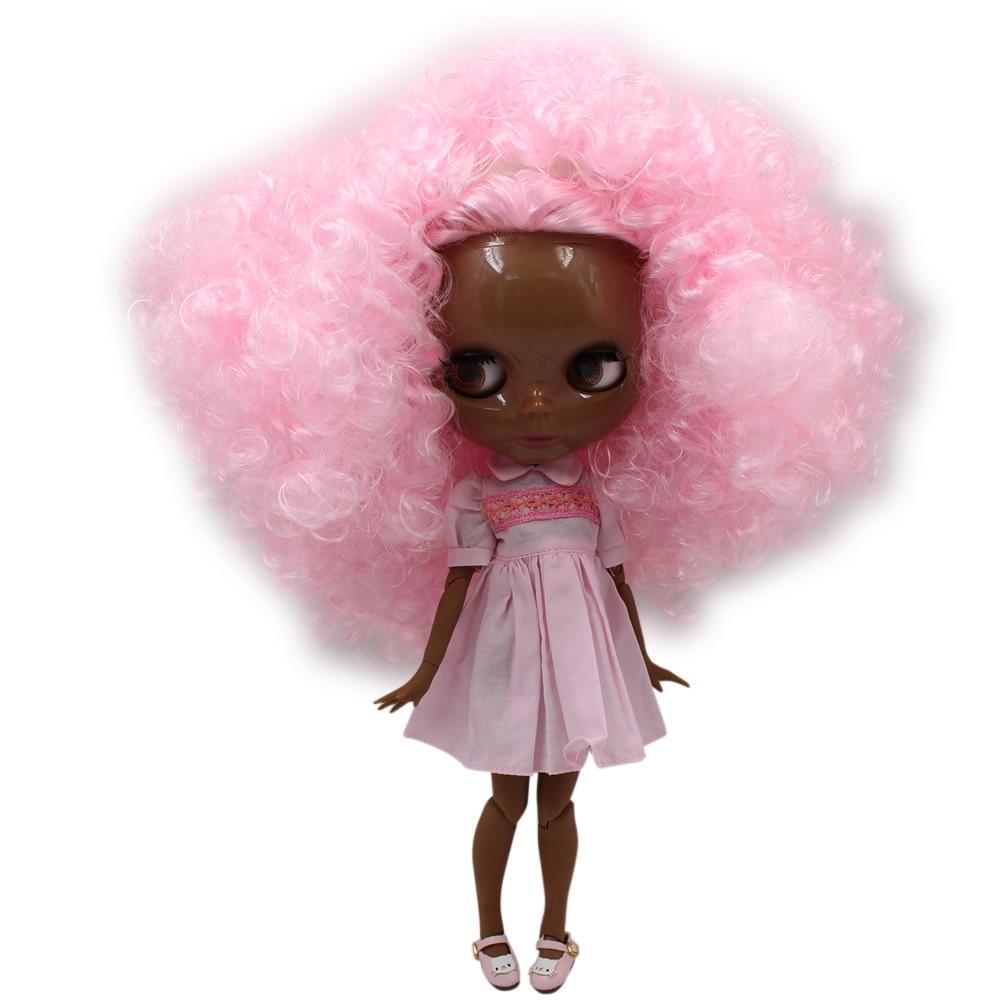 Blyth doll SUPER BLACK Dark skin tone 30cm pink curly Afro hair JOINT body 1 6
