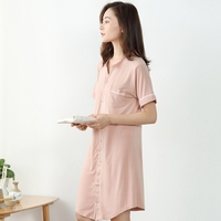 Bamboo Fiber Summer Women's Nightgowns Short sleeve Dressing Gown Solid Sleepshirts Plus Size V Neck Ladies Sleepwear Dress Robe