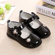 Children Girls Leather Shoes With Bow Princess Shoes Kids Ba