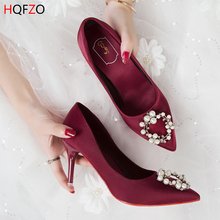 HQFZO Women Sexy Rhinestone Pumps High Thin Heels Shallow Crystal Bling Pointed Toe Woman Shoes Party Prom Wedding Brides shoes