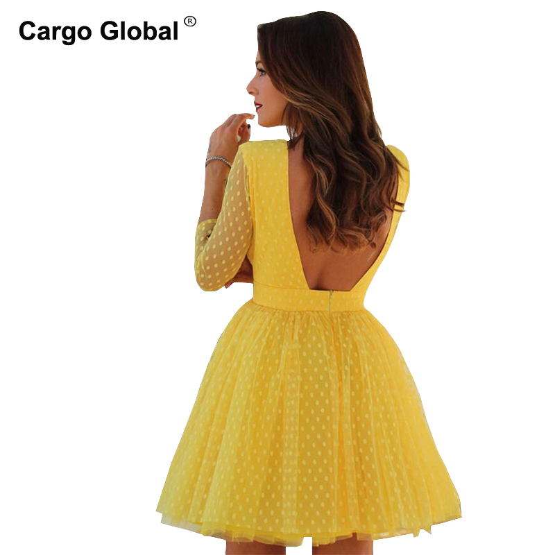 2019 Summer Women Long Sleeve <font><b>Dresses</b></font> Sexy <font><b>Open</b></font> <font><b>Back</b></font> Mesh Lace Sweet Point Round Neck Princess <font><b>Dress</b></font> Red Yellow Color <font><b>Dress</b></font> image