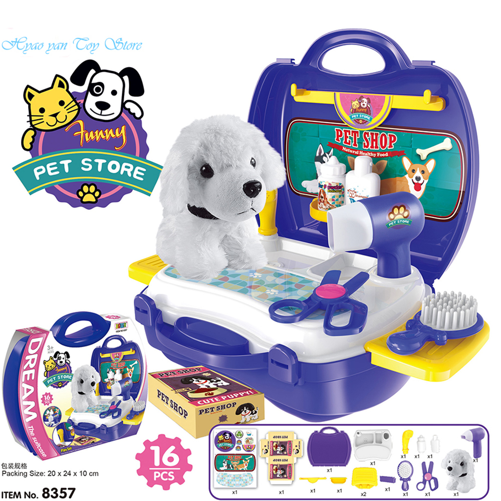 16 Pcs role play Pet Store Shop Pretend Play Toy Pet Puppy care Kits in Suitcase